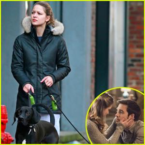 Supergirl's Melissa Benoist Walks Chris Wood's Dog in Canada
