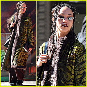 FKA Twigs Pairs a Green Tiger-Print Coat With Sneakers