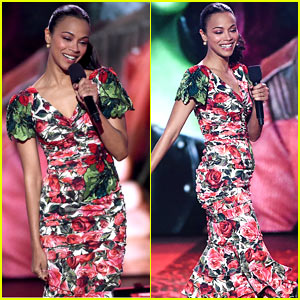 Zoe Saldana Stuns in Floral Print Dress at Kids' Choice Awards!