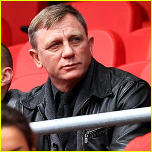 Daniel Craig Checks Out a Soccer Match in Liverpool