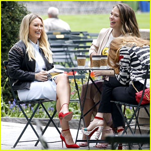 Hilary Duff & Sutton Foster Can't Stop Smiling on 'Younger' Set!