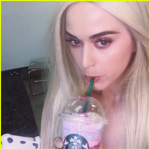 Katy Perry Tries Starbucks' Unicorn Frapp - Watch Her Reaction! (Video)