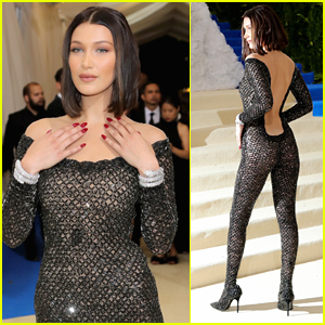2bb7f95fad4 Bella Hadid makes a dramatic entrance in a diamond covered catsuit as she  arrives at the 2017 Met Gala held at the Metropolitan Museum of Art on  Monday (May ...