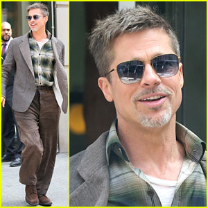 Brad Pitt Gets Ready for a Day of 'War Machine' Press!