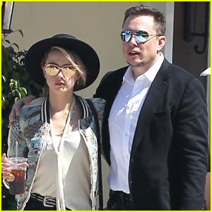 Amber Heard & Elon Musk Get Cozy During Breakfast Date