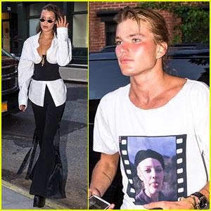 Bella Hadid & Model Jordan Barrett Hang Out at Charity Party