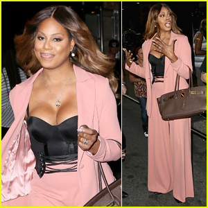 Laverne Cox Steps Out to Promote 'OITNB' in NYC