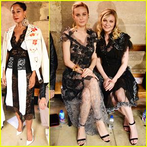 Brie Larson & Kirsten Dunst Buddy Up At Rodarte's Paris Show!