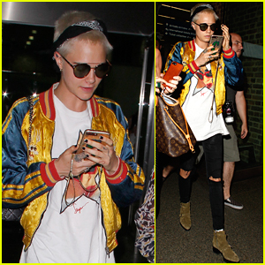 Cara Delevingne Arrives Home from Her Trip in Paris