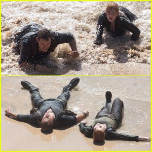 Chris Pratt & Bryce Dallas Howard Get Washed Ashore While Filming 'Jurassic World 2'
