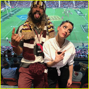 'Aquaman' Co-Stars Jason Momoa & Amber Heard Hit Up Rugby Match With His Cute Kids