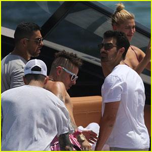 Joe Jonas & Wilmer Valderrama Go Boating Before Summerfest