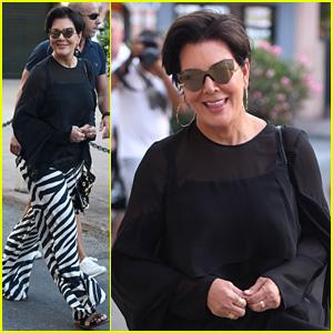 Kris Jenner Steps Out in Zebra-Print Pants in Saint-Tropez