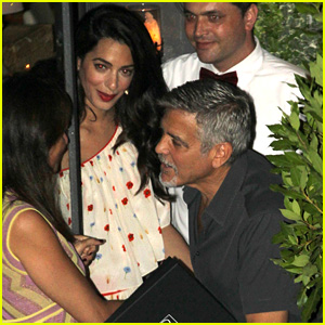 New Parents George & Amal Clooney Dine with Friends in Italy