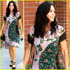 Courteney Cox Wears Leaf-Patterned Dress in Beverly Hills