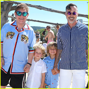 Elton John & David Furnish Pose with Their Sons on Vacation!