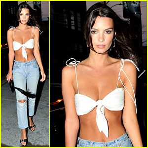 Emily Ratajkowski Stuns in White Crop Top En Route to Fight Night Party