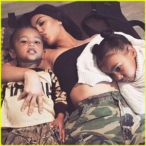 Kim Kardashian Shares Cute Family Photo with North & Saint