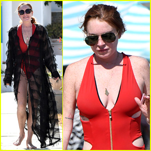 Lindsay Lohan Flaunts Her Figure in Red One-Piece Swimsuit