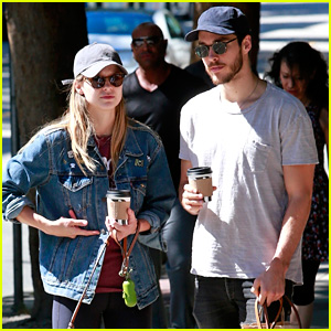 Cute Couple Melissa Benoist & Chris Wood Take Their Dogs for a Weekend Walk