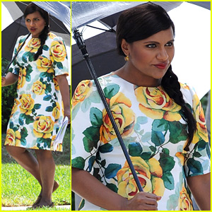 Pregnant Mindy Kaling Films 'Mindy Project' in a Floral Dress