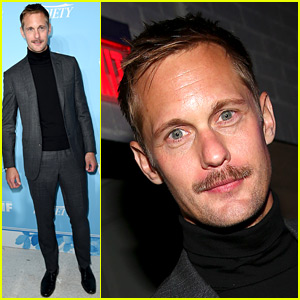 Alexander Skarsgard Suits Up for Pre-Emmys Party with His New Mustache!