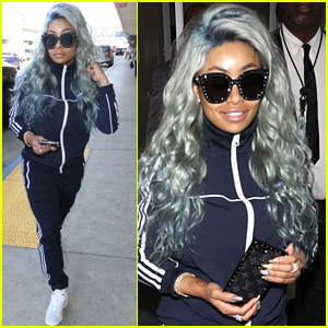 Blac Chyna Rocks Blue Hair for Her Flight Out of Town