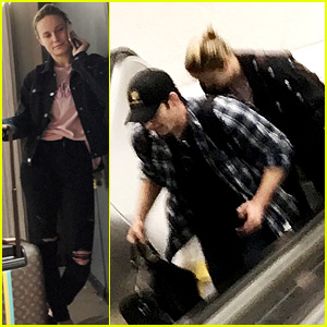 Brie Larson & Chris Evans Land in Atlanta for 'Avengers' Filming