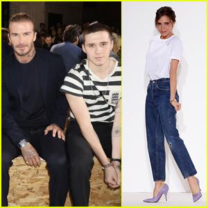 David Beckham & Son Brooklyn Support Victoria Beckham at NYFW Show
