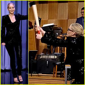 Jennifer Lawrence Has Axe-Throwing Contest with Jimmy Fallon! (Video)