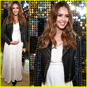 Jessica Alba Cradles Her Baby Bump at Rebecca Minkoff's NYFW Show!