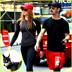Joe Jonas, Sophie Turner, & Their Puppy Step Out in Coordinating Outfits