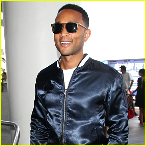 John Legend is All Smiles in a Navy, Stain Tracksuit