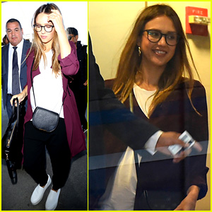 Pregnant Jessica Alba Keeps Her Baby Bump Snug While Leaving Town