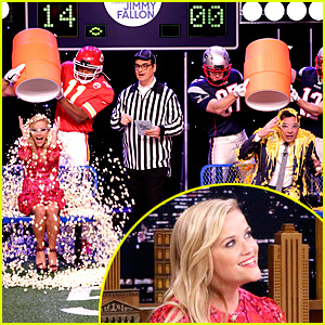 Reese Witherspoon & Jimmy Fallon Get Random Substances Poured on Their Heads During Funny Game (Video)