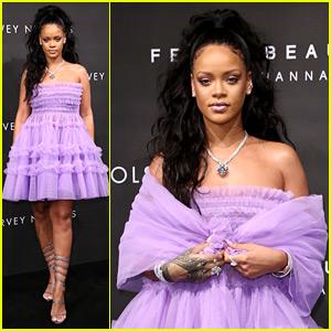 Rihanna Looks Lovely in Lilac for Fenty Beauty Launch in London