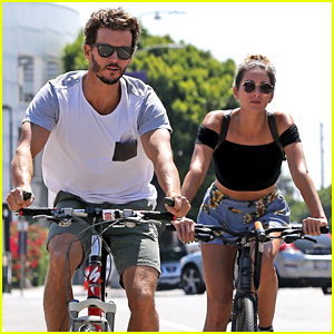 Ryan Kwanten and girlfriend Ashley Sisino bike riding at Venice Beach