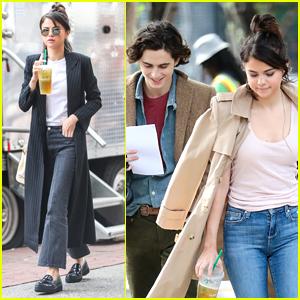 Selena Gomez & Timothee Chalamet Enjoy a Break on Set of Woody Allen's New Movie