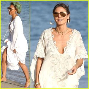 Heidi Klum & Mel B Are Ladies In White For Malibu Beach Day