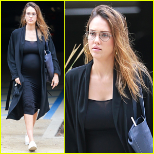 Jessica Alba Shows Off Her Baby Bump While Heading to Work