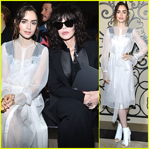 Lily Collins Sits Front Row at Givenchy Paris Fashion Week Show