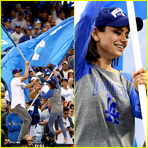 Mila Kunis & Ashton Kutcher Wave the Dodgers Flag at World Series Game 6!