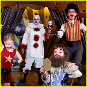 Neil Patrick Harris & David Burtka Win Halloween Again as an Awesomely Freaky Circus Family!