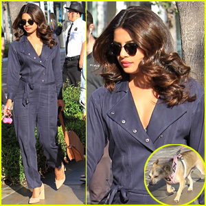 Priyanka Chopra Stuns in Blue Jumpsuit While Out & About With Dog Diana
