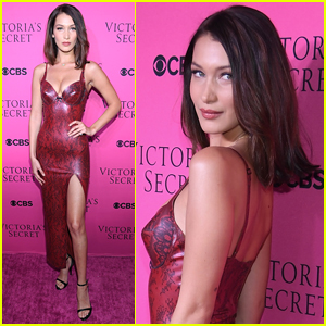 Bella Hadid Goes Sexy in Skin-Tight Dress for VS Fashion Show Viewing Party