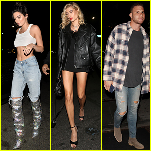 Kendall Jenner Sports White Crop Top at 22nd Birthday Party With Hailey Baldwin & Blake Griffin