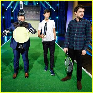 Novak Djokovic Plays Target Practice with James Corden on 'Late Late Show'!