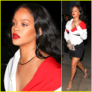 Rihanna Rocks Her New Red Lip Paint on the Way to Dinner!