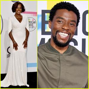 Viola Davis Joins Chadwick Boseman at the American Music Awards 2017