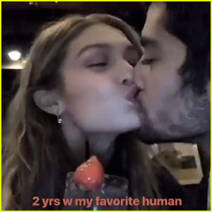 Zayn Malik & Gigi Hadid Kiss For 2 Year Anniversary!